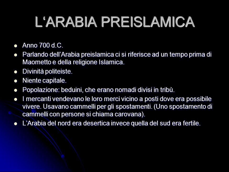 L'ARABIA PREISLAMICA Anno 700 d.C.