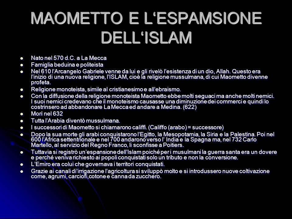 MAOMETTO E L'ESPAMSIONE DELL'ISLAM