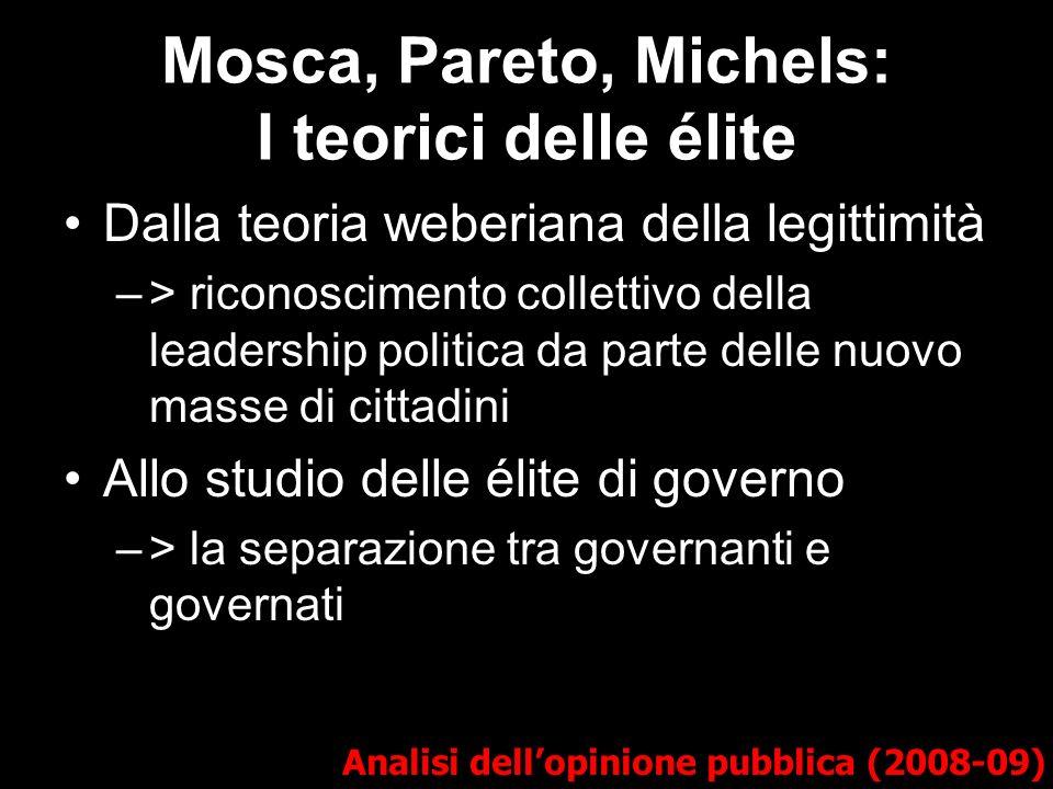 Mosca, Pareto, Michels: I teorici delle élite