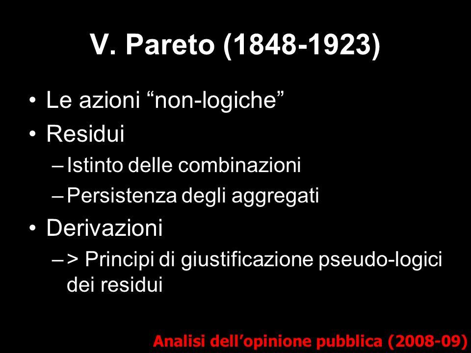 V. Pareto (1848-1923) Le azioni non-logiche Residui Derivazioni