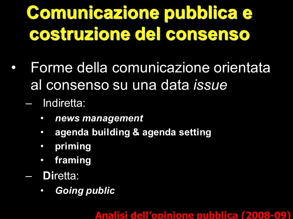 Comunicazione pubblica e costruzione del consenso