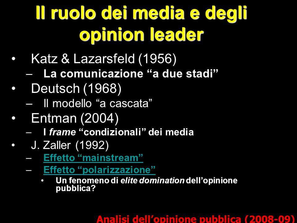 Il ruolo dei media e degli opinion leader