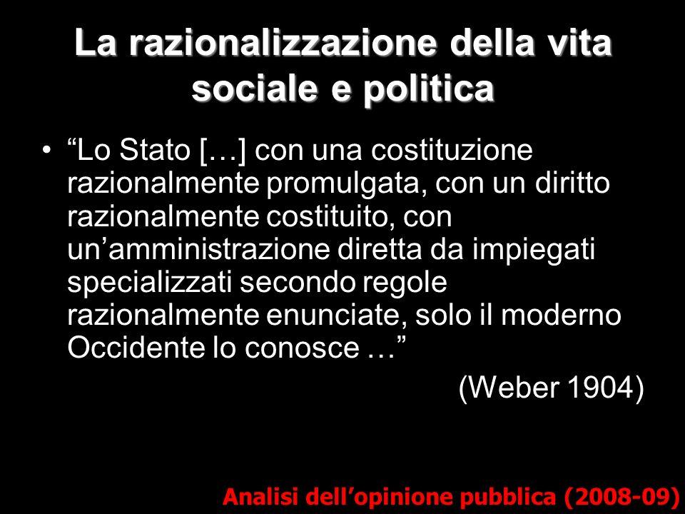 La razionalizzazione della vita sociale e politica