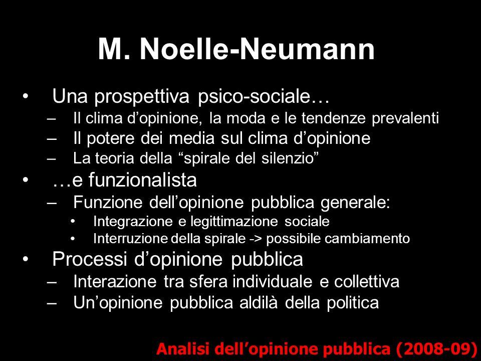 M. Noelle-Neumann Una prospettiva psico-sociale… …e funzionalista