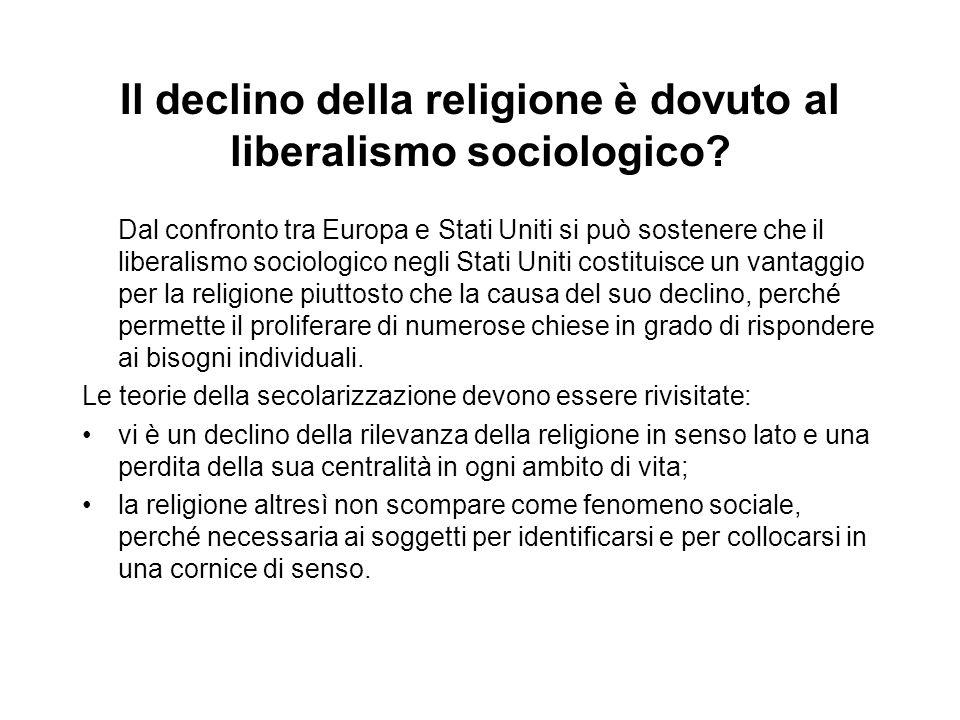 Il declino della religione è dovuto al liberalismo sociologico