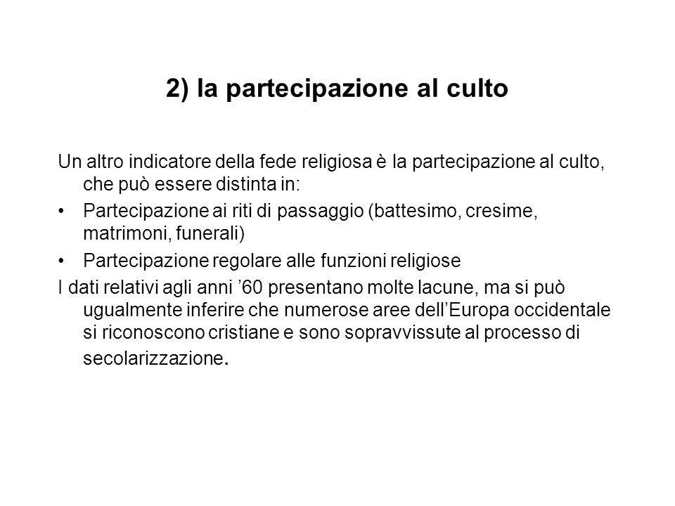 2) la partecipazione al culto