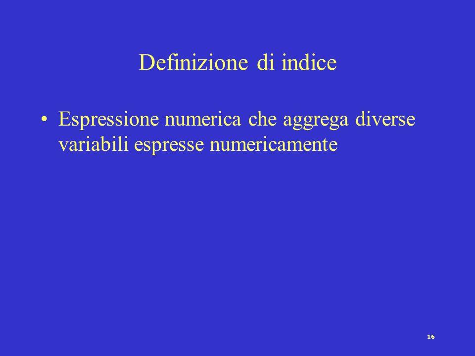 Definizione di indice Espressione numerica che aggrega diverse variabili espresse numericamente