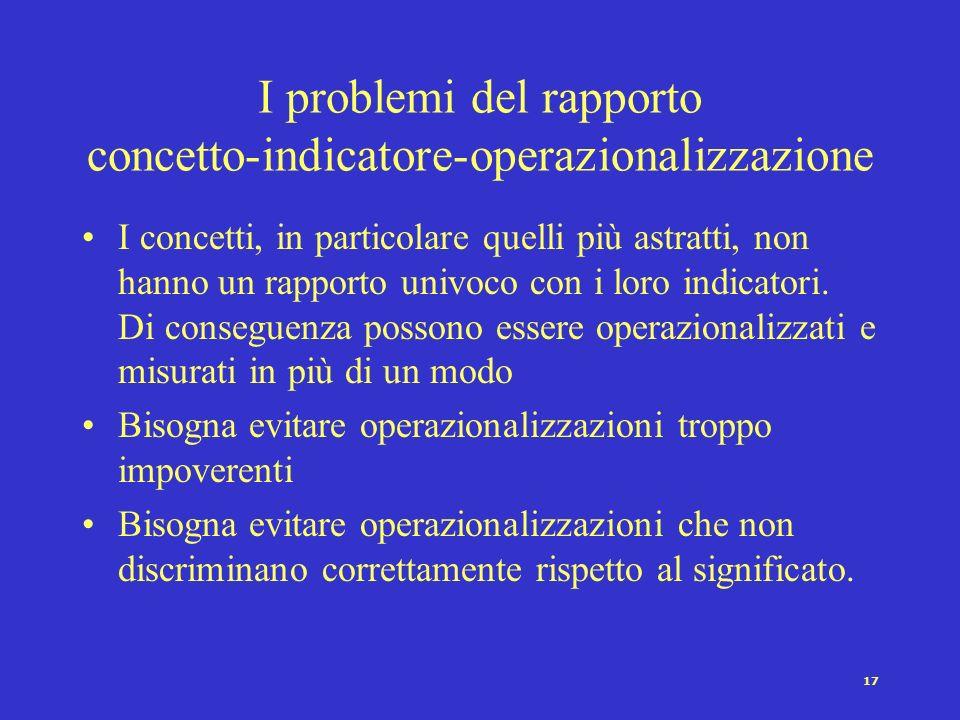 I problemi del rapporto concetto-indicatore-operazionalizzazione