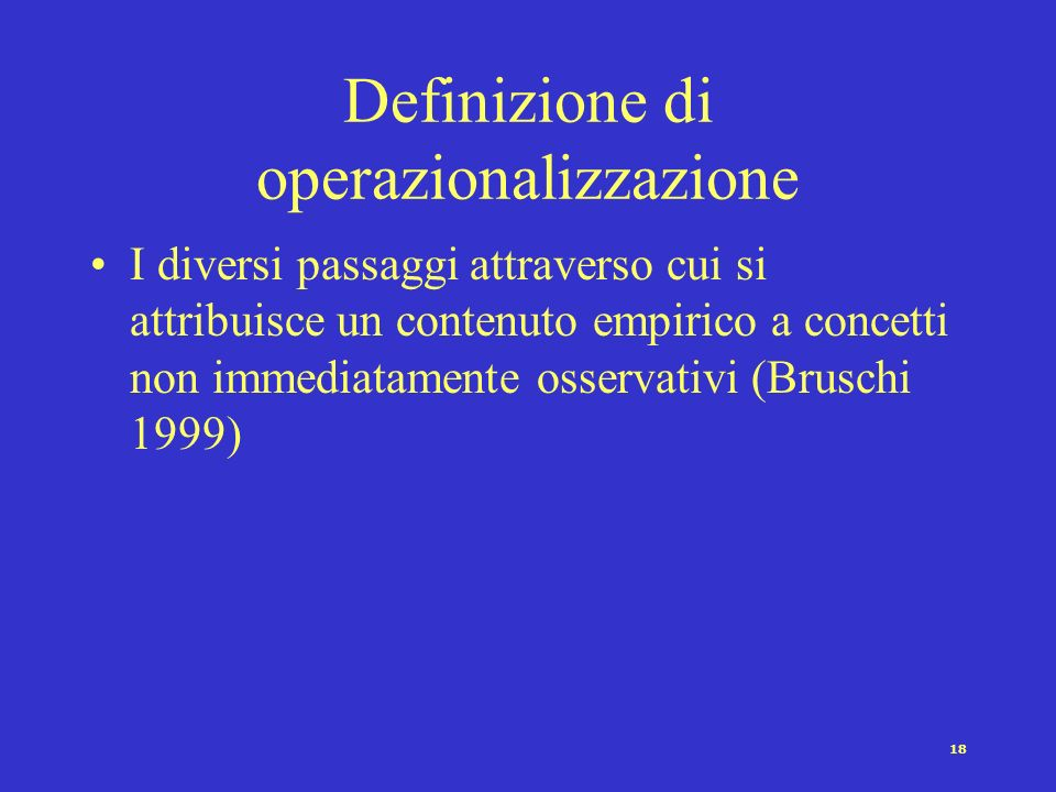 Definizione di operazionalizzazione