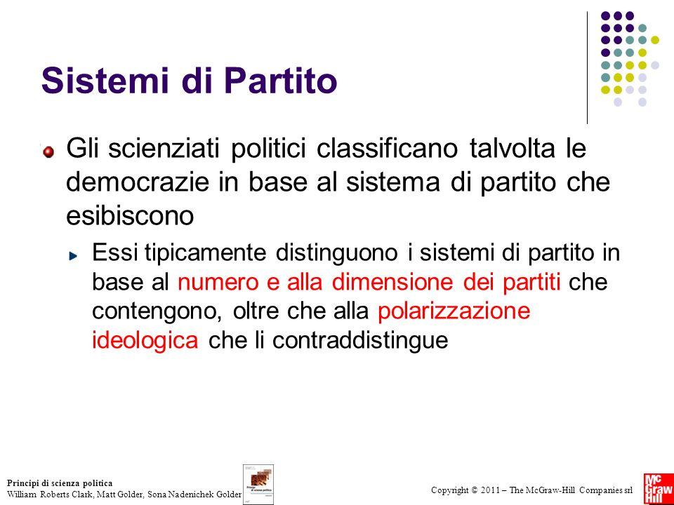 Sistemi di Partito Gli scienziati politici classificano talvolta le democrazie in base al sistema di partito che esibiscono.