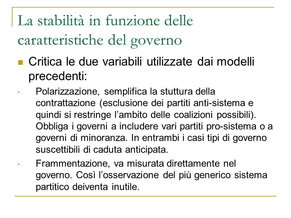La stabilità in funzione delle caratteristiche del governo