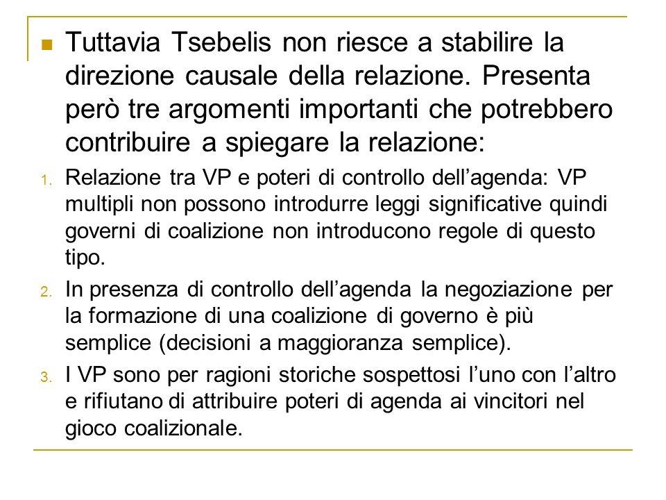 Tuttavia Tsebelis non riesce a stabilire la direzione causale della relazione. Presenta però tre argomenti importanti che potrebbero contribuire a spiegare la relazione: