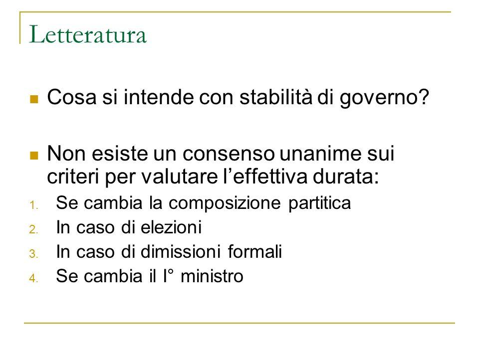 Letteratura Cosa si intende con stabilità di governo