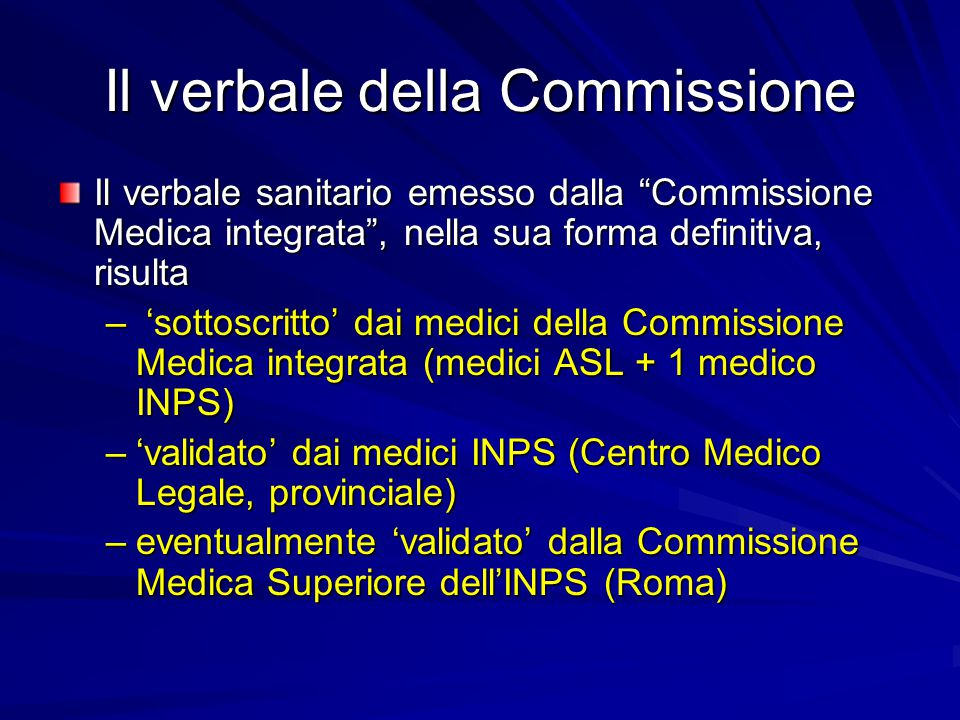 Il verbale della Commissione
