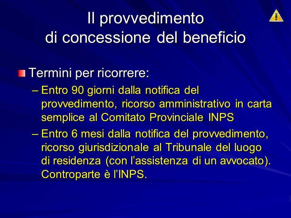 Il provvedimento di concessione del beneficio