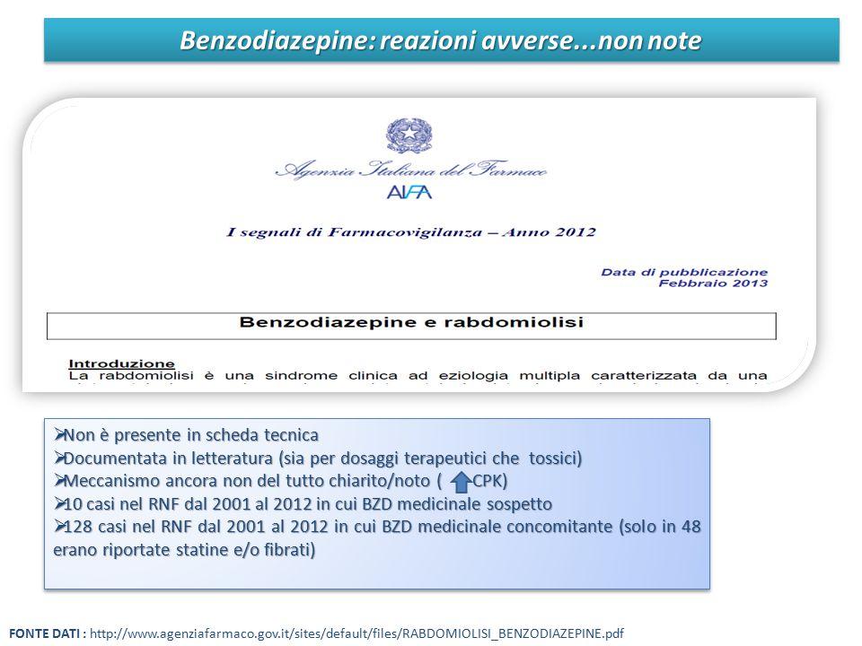 Benzodiazepine: reazioni avverse...non note