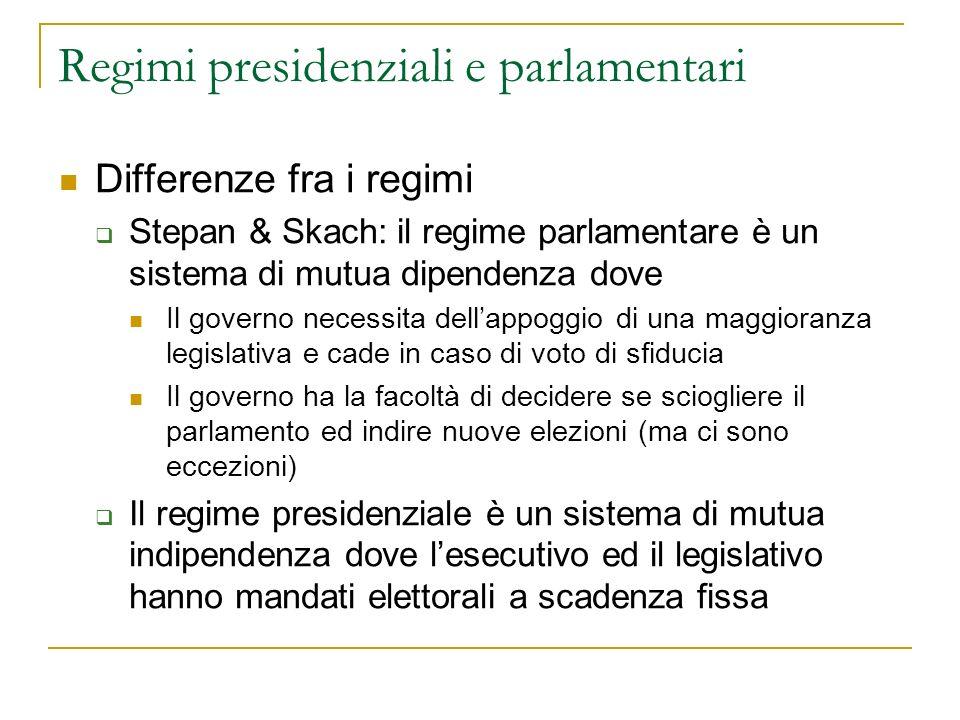Regimi presidenziali e parlamentari