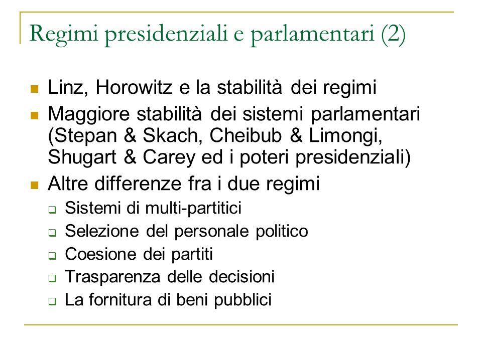 Regimi presidenziali e parlamentari (2)