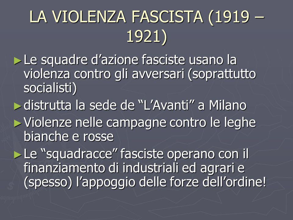 LA VIOLENZA FASCISTA (1919 – 1921)