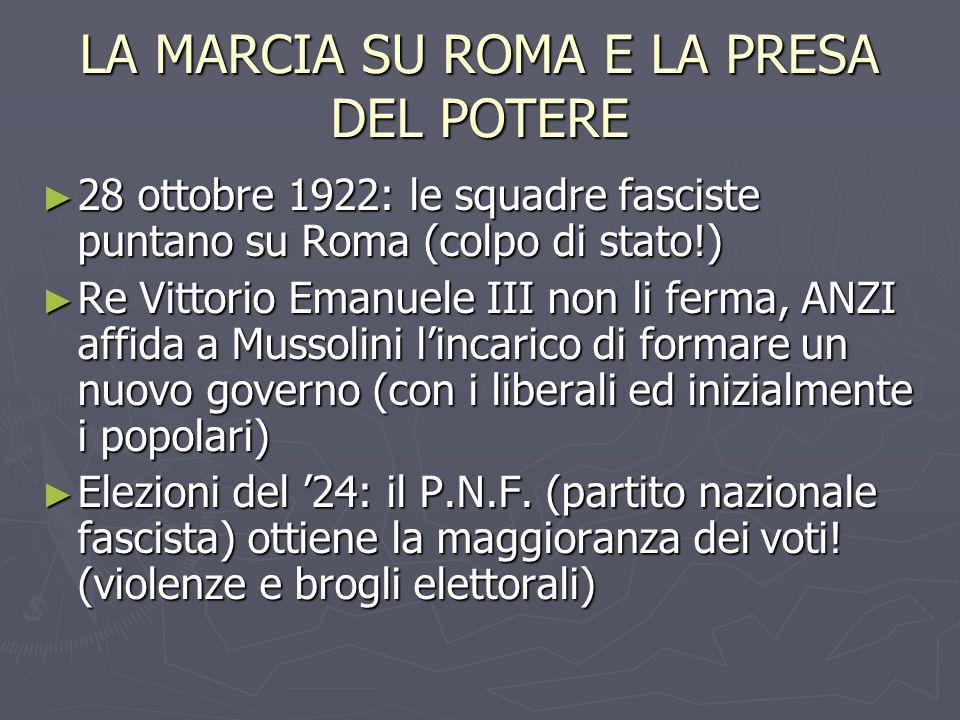 LA MARCIA SU ROMA E LA PRESA DEL POTERE