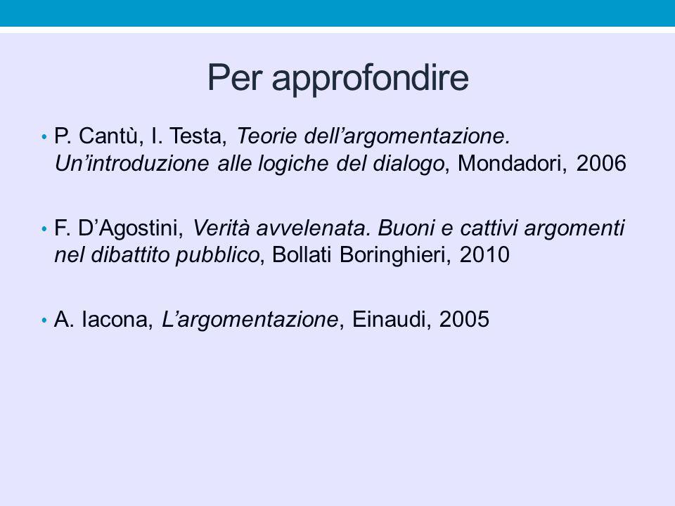 Per approfondire P. Cantù, I. Testa, Teorie dell'argomentazione. Un'introduzione alle logiche del dialogo, Mondadori, 2006.