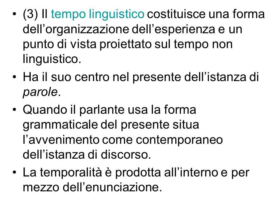 (3) Il tempo linguistico costituisce una forma dell'organizzazione dell'esperienza e un punto di vista proiettato sul tempo non linguistico.