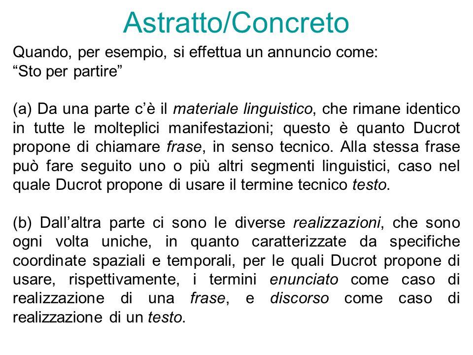 Astratto/Concreto Quando, per esempio, si effettua un annuncio come: