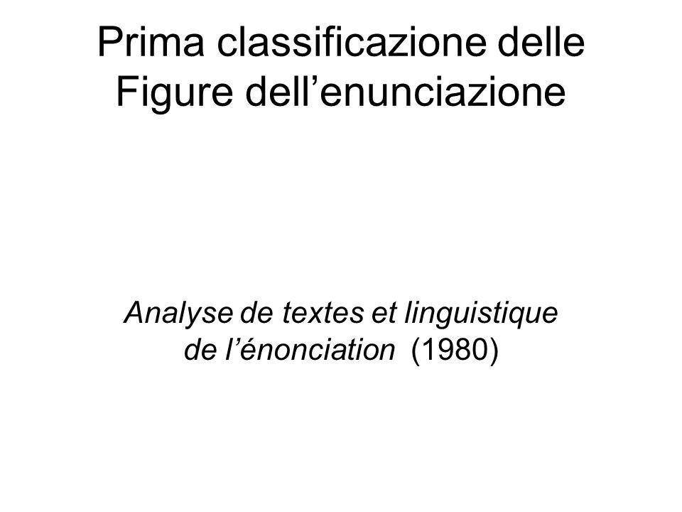 Prima classificazione delle Figure dell'enunciazione