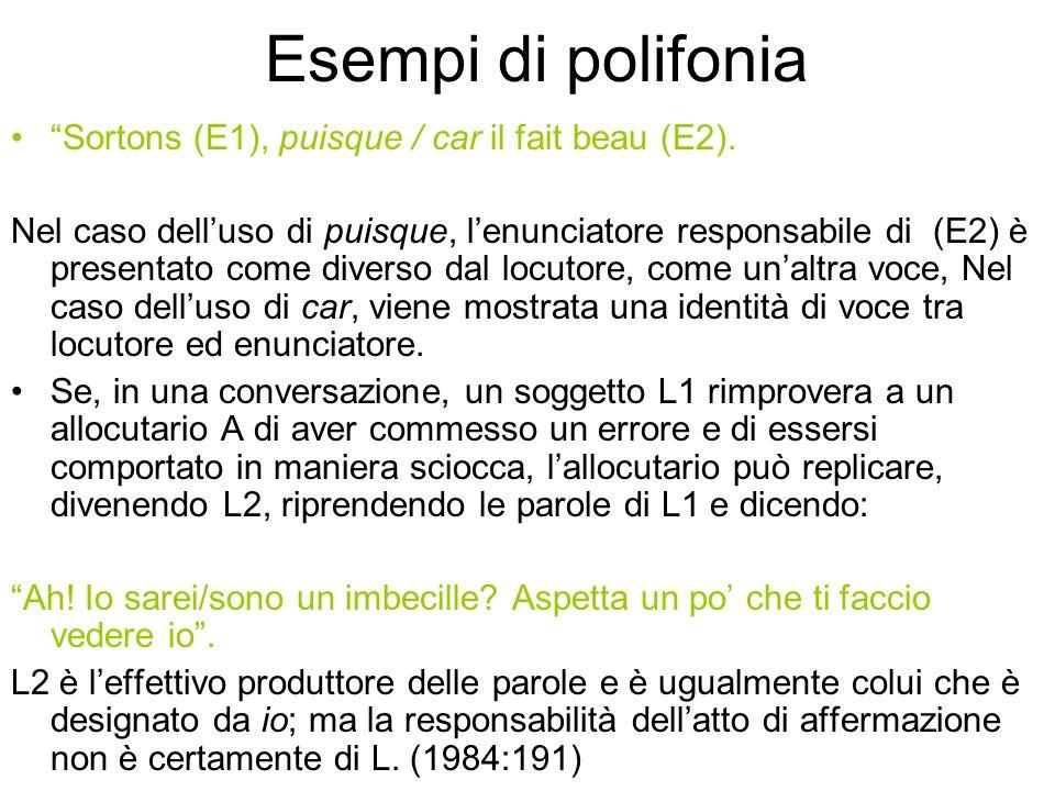 Esempi di polifonia Sortons (E1), puisque / car il fait beau (E2).