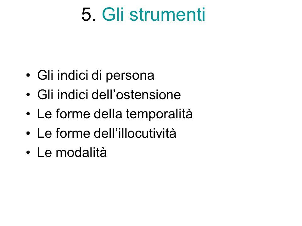 5. Gli strumenti Gli indici di persona Gli indici dell'ostensione