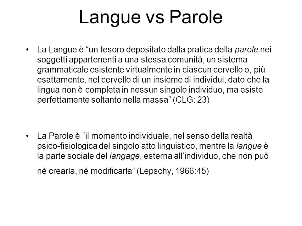 Langue vs Parole