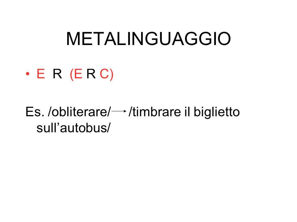 METALINGUAGGIO E R (E R C)