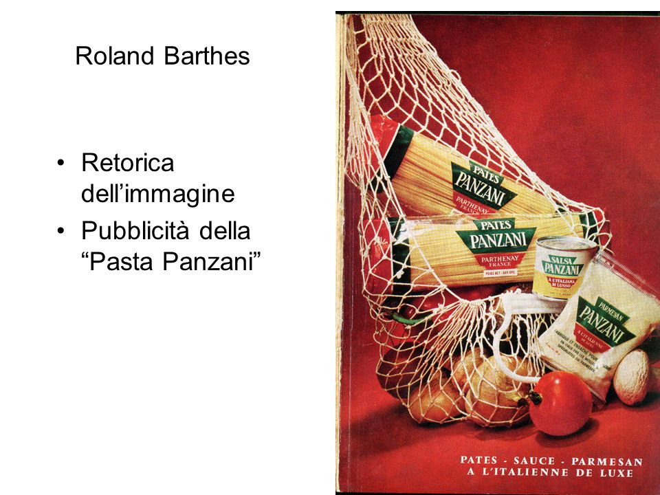 Roland Barthes Retorica dell'immagine Pubblicità della Pasta Panzani