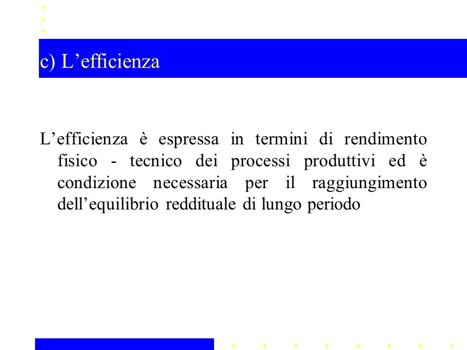 c) L'efficienza