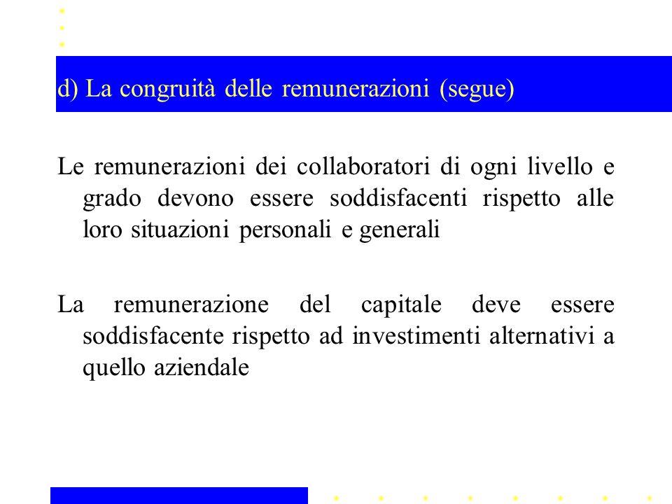 d) La congruità delle remunerazioni (segue)