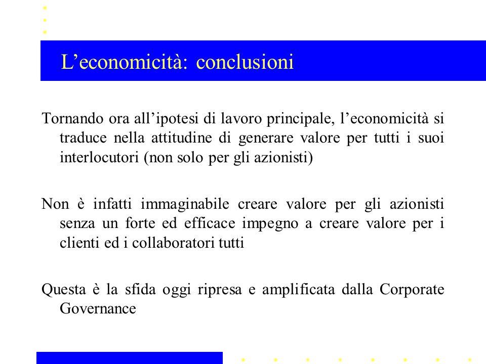 L'economicità: conclusioni
