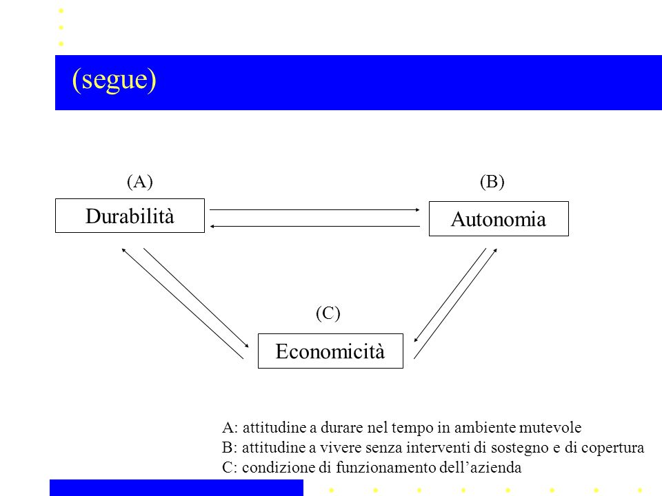 (segue) Durabilità Autonomia Economicità (A) (B) (C)