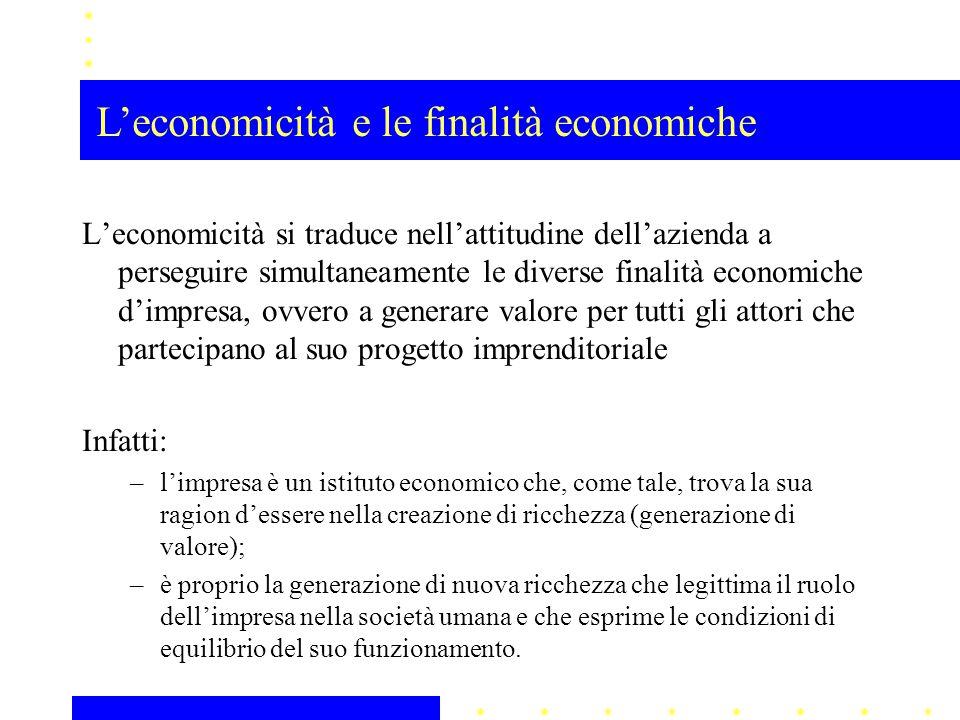 L'economicità e le finalità economiche