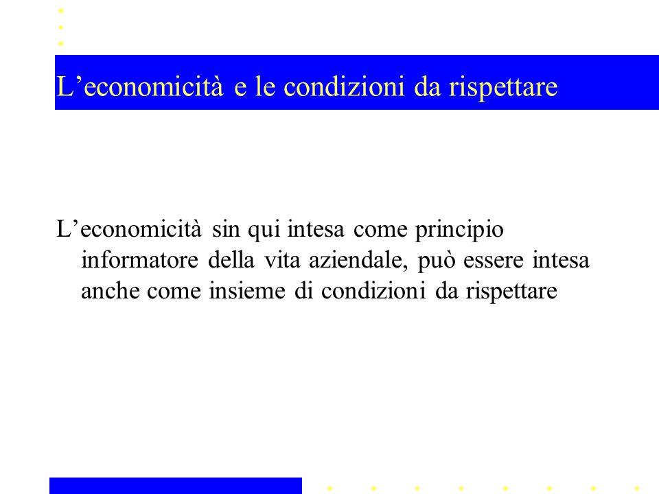 L'economicità e le condizioni da rispettare