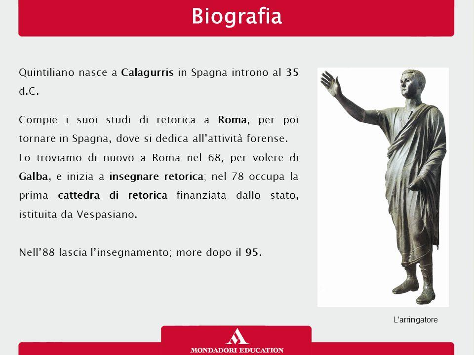 Biografia Quintiliano nasce a Calagurris in Spagna introno al 35 d.C.