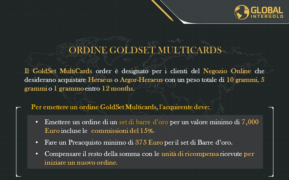 ORDINE GOLDSET MULTICARDS