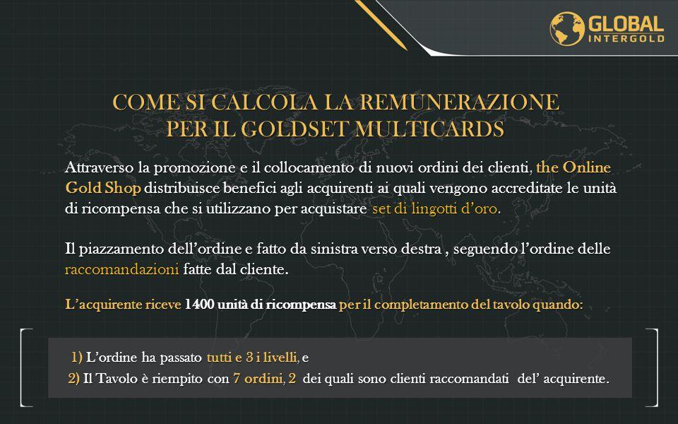 COME SI CALCOLA LA REMUNERAZIONE PER IL GOLDSET MULTICARDS