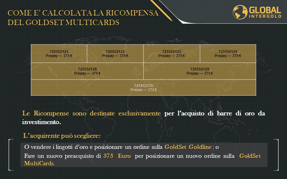 COME E' CALCOLATA LA RICOMPENSA DEL GOLDSET MULTICARDS