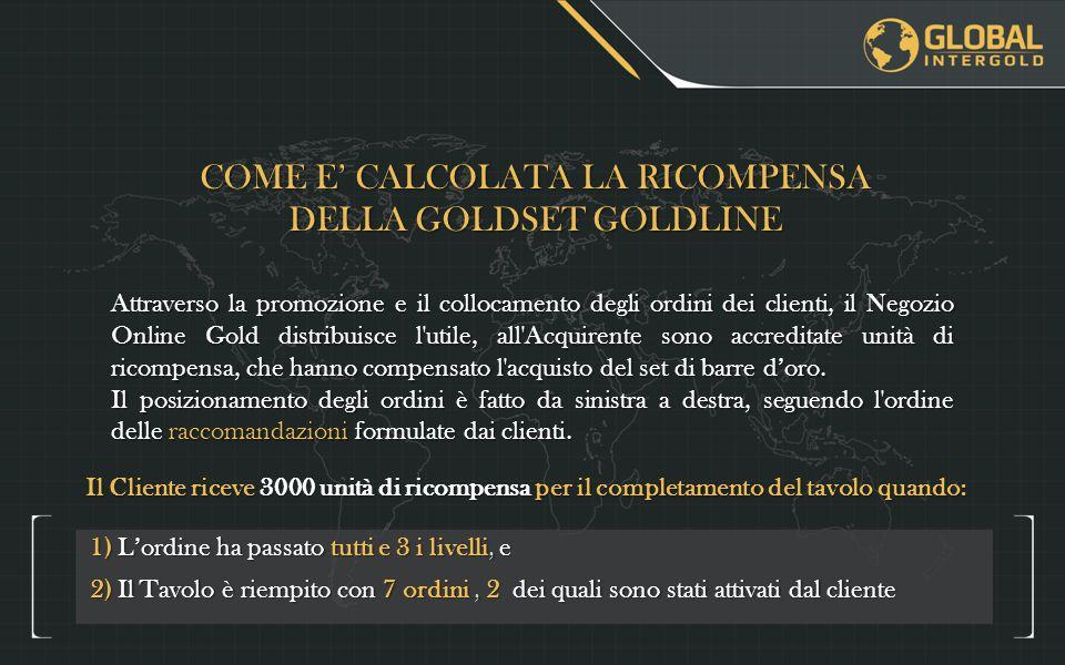 COME E' CALCOLATA LA RICOMPENSA DELLA GOLDSET GOLDLINE