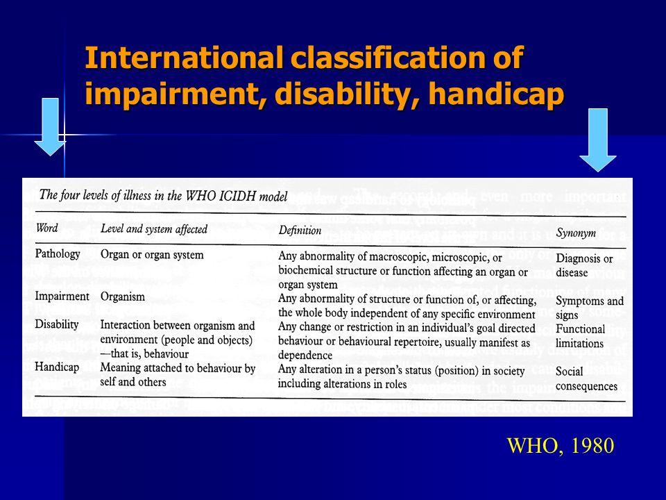 International classification of impairment, disability, handicap