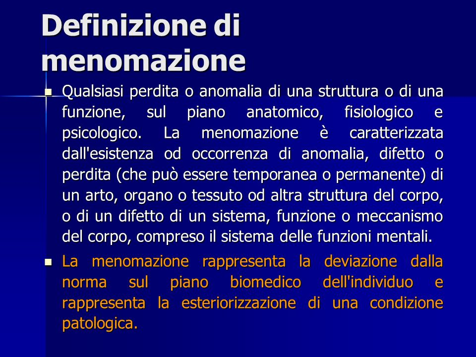 Definizione di menomazione