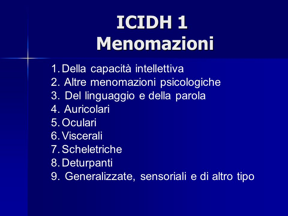 ICIDH 1 Menomazioni Della capacità intellettiva