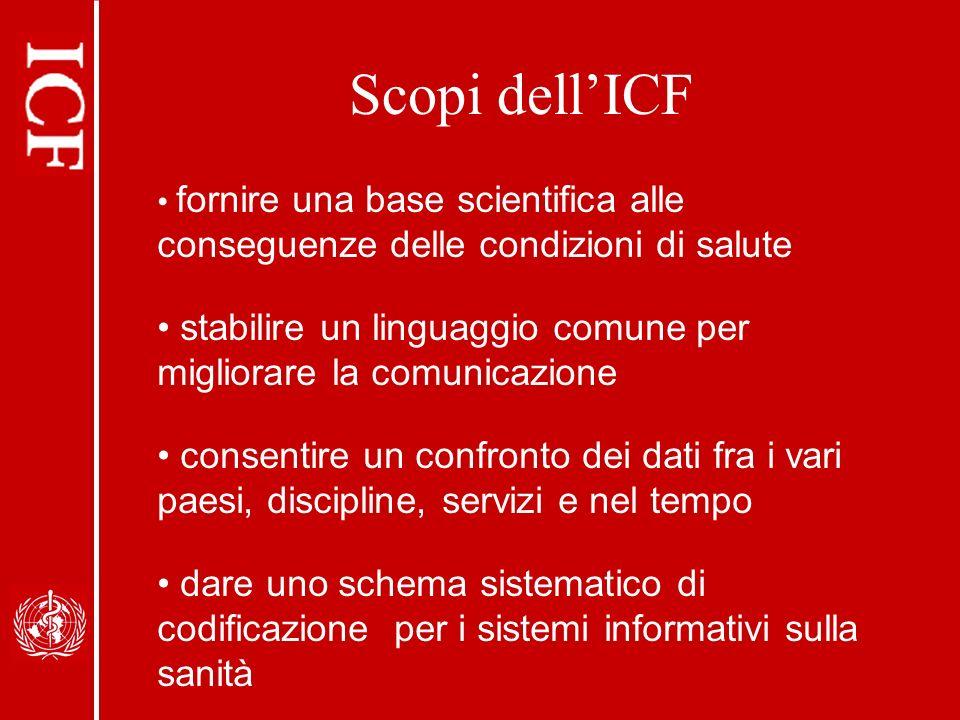 Scopi dell'ICF fornire una base scientifica alle conseguenze delle condizioni di salute.