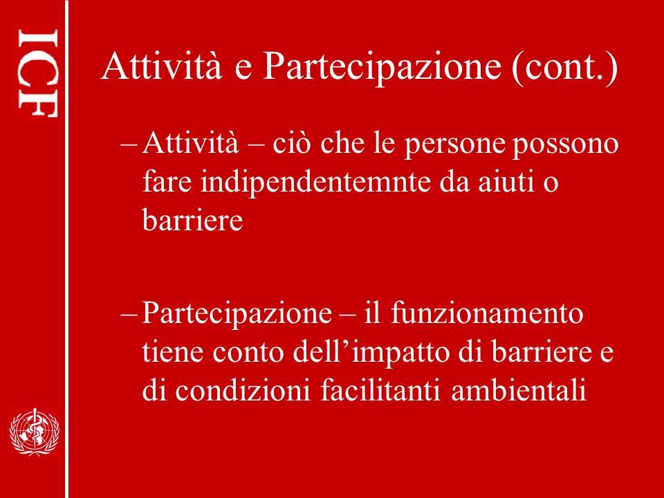 Attività e Partecipazione (cont.)