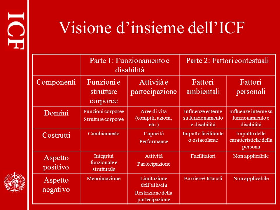Visione d'insieme dell'ICF